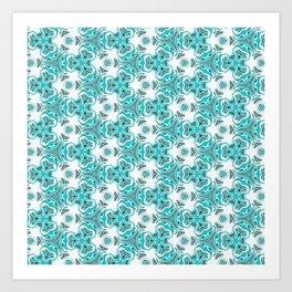 Bright Turquoise Fluid Geometric Pattern Art Print