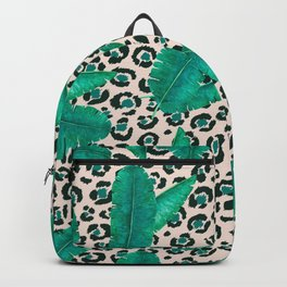 Trendy Tropical Banana Leaf Leopard Print Backpack