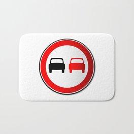 No Overtaking Road Traffic Sign Bath Mat