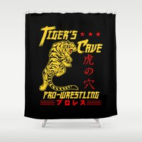 wrestling Shower Curtains featuring Tiger's Cave pro-wrestling by Buby87