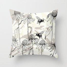Buzzing bees - neutral Throw Pillow
