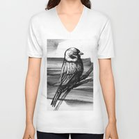 sparrow V-neck T-shirts featuring Sparrow by Chuchuligoff