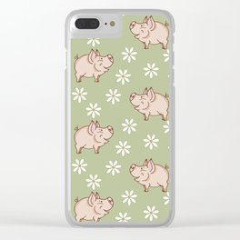 pig in the meadow Clear iPhone Case