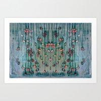 Cottage Roses Art Print