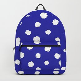 Hand-Drawn Dots (White & Navy Blue Pattern) Backpack