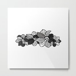 Black & White Florals Metal Print