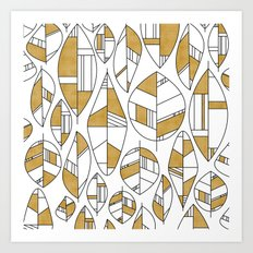 MCM Autumn Leaves Gold Art Print