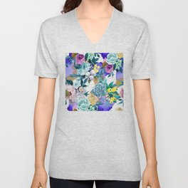 Floral Patterns in Contemporary Designs and Colors Unisex V-Neck