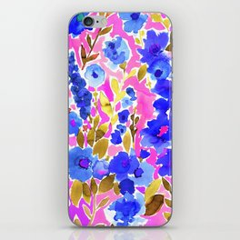Isla Floral Pink Blue iPhone Skin