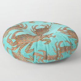 Patterned crab - aqua, red Floor Pillow