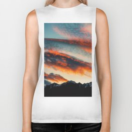 Sunset Over the Mountains (Color) Biker Tank