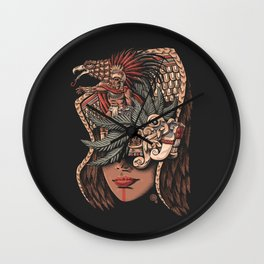 Aztec Eagle Warrior Wall Clock