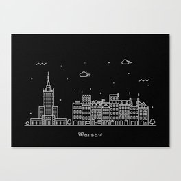 Warsaw Minimal Nightscape / Skyline Drawing Canvas Print