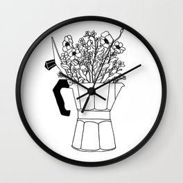 Moka Flowers - Coffee- BW Wall Clock