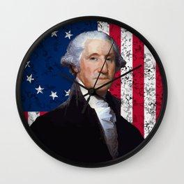 President George Washington and The American Flag Wall Clock