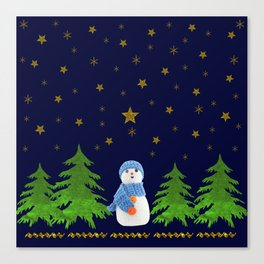 Sparkly gold stars, snowman and green tree Canvas Print