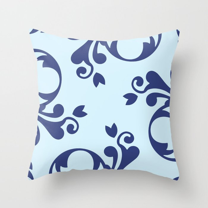 French Damask, Ornaments, Swirls - Blue Throw Pillow
