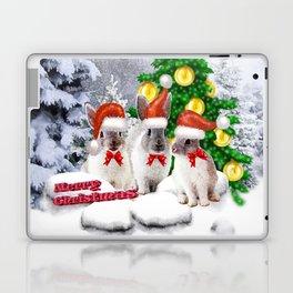 Schneehasen wünschen: frohe Weihnachten Laptop & iPad Skin