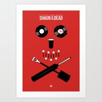 shaun of the dead Art Prints featuring Shaun of the Dead - Skull by Nick Kemp