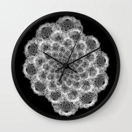 GEOMETRIC NATURE: BROCCOLI b/w Wall Clock