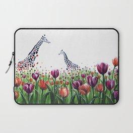 Giraffes in a field of Tulips Laptop Sleeve