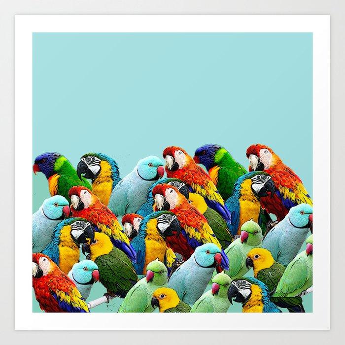 Sky Blue Parrots Home Decor Art Print By Lubo