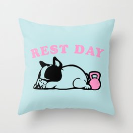 Rest Day Frenchie Throw Pillow