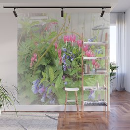 Floral Fantasy Bleeding Hearts and Bluebells Wall Mural