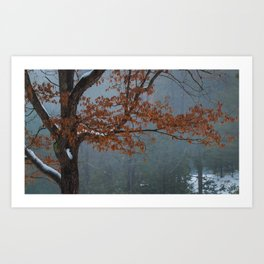 Leaves against Fog Background Art Print
