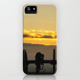 Sunrise on a foggy Battlefield iPhone Case