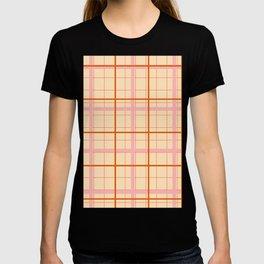 grid check layer_beige T-shirt