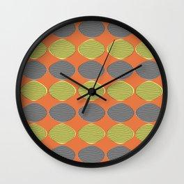 Mid-Century Modern Abstract Ovals Orange Wall Clock