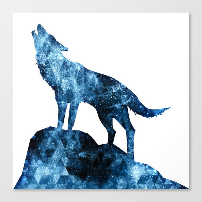 Howling Wolf Blue Sparkly Smoke Silhouette Canvas Print By