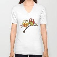 decorative V-neck T-shirts featuring Decorative Owls by sheena hisiro