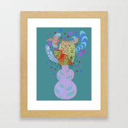 Vase with wild animals Framed Art Print