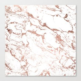Modern chic faux rose gold white marble pattern Canvas Print