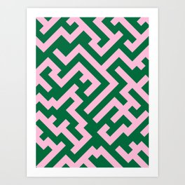 Cotton Candy Pink and Cadmium Green Diagonal Labyrinth Art Print