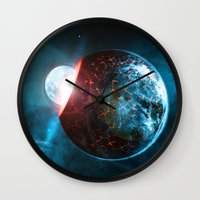 planet Wall Clocks featuring Planet by Floyd Triangle