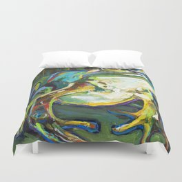 Colorful Bullfrog by Robert Phelps Duvet Cover