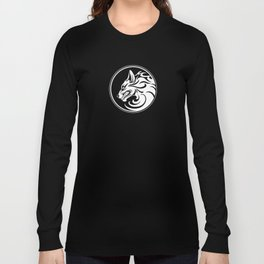 White and Black Growling Wolf Disc Long Sleeve T-shirt