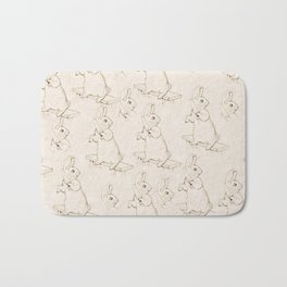 Cute Bunny with a carrot Beatrix Potter pattern design Bath Mat