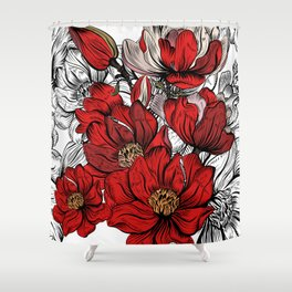 RED PEONIES PATTERN Shower Curtain