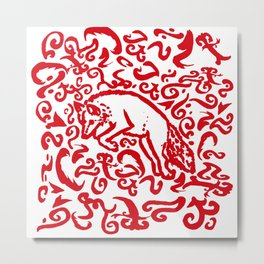Jumping Red Fox on White Background Metal Print