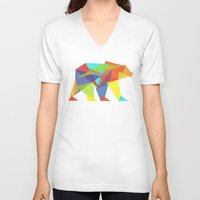 glitch V-neck T-shirts featuring Fractal Geometric bear by Picomodi