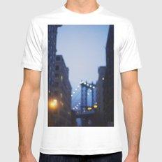 Manhattan Bridge at Night II Mens Fitted Tee MEDIUM White