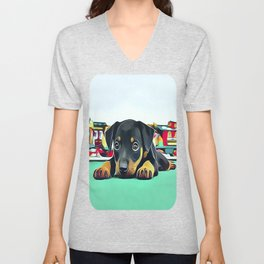 Doberman Puppy Guarding the Model Railroad Unisex V-Neck