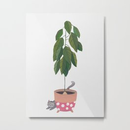 Avocado Cat Metal Print