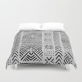 Line Mud Cloth // Light Grey Duvet Cover