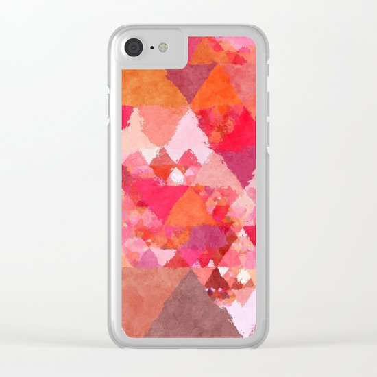 Into the heat - Pink and red watercolor Triangle pattern Clear iPhone Case