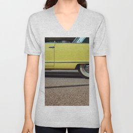 Retro yellow car Unisex V-Neck